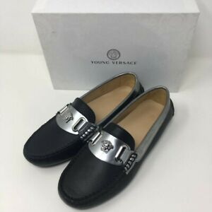 YOUNG VERSACE Leather Moccasins Loafers