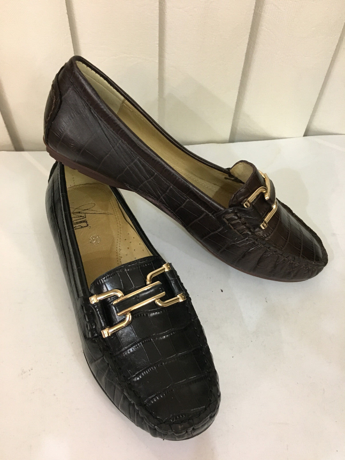 Azura Syrinx Black Brown Leather Cushioned Loafers Moccasins Size 36-41 (5.5-10)