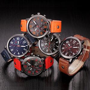 Marine-Herren-Armbanduhr-Waterproof-Date-Leder-Strap-Sport-Quartz-Army-Watch