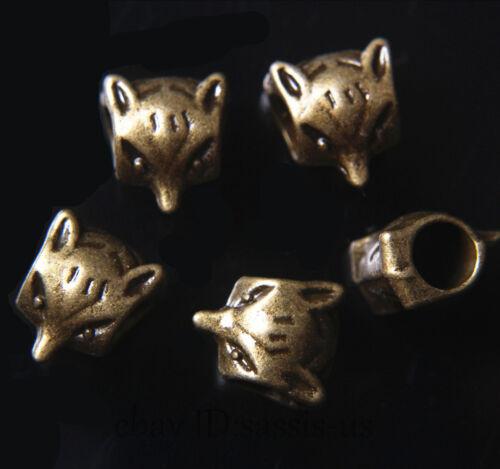 30pcs Spacer Charms Perles 5 mm trou Fox Bracelet Bronze Tibet À faire soi-même Bijoux A7692