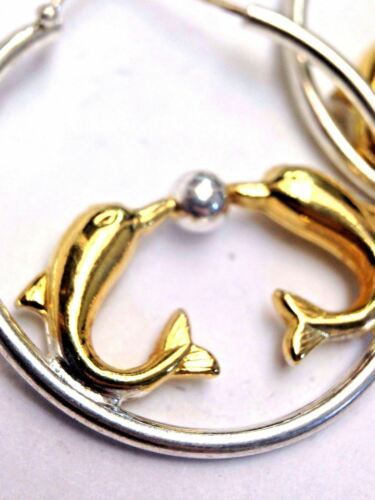 Two Tone Sterling Silver and Yellow Gold Kissing Dolphin Hoop Earrings Cute