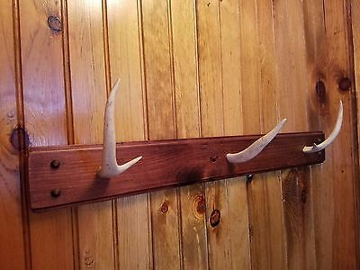 """Hat Rack Deer Antler Horn Hooks 30"""" Hand Crafted Wall Mount Red Oak Made in USA"""