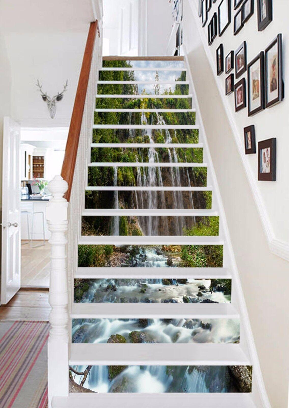 3D Cascade River Stair Risers Decoration Photo Mural Vinyl Decal Wallpaper AU