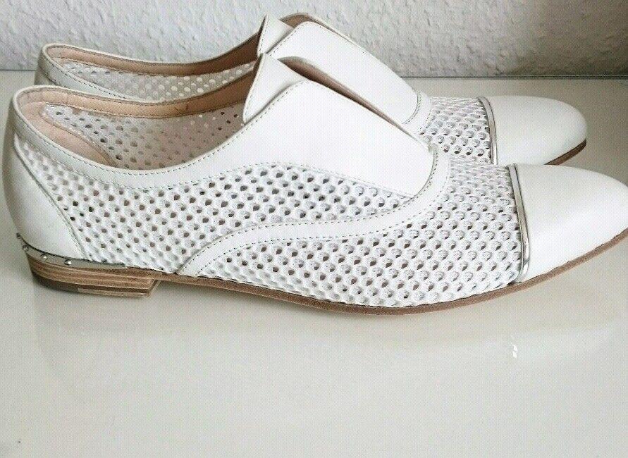 Michalsky Leder Sommer Halbschuhe Slip On Loafer Netz Silber Detail Weiß Gr.39.5