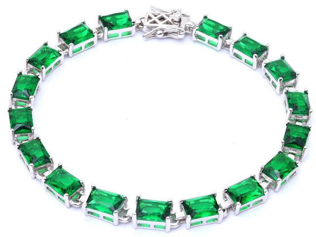 "17.50ct Radiant Cut Emerald .925 Sterling Silver Bracelet 8"""