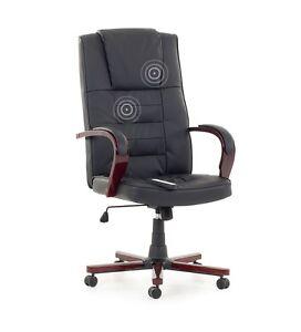 chefsessel massagesessel b rostuhl leder sessel b ro schwarz mit massage heizung ebay. Black Bedroom Furniture Sets. Home Design Ideas