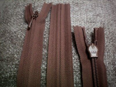 "Z8 Quality YKK 9/"" 23cm Dark Mustard Brown Concealed Invisible Closed End Zip"