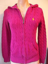 Ralph Lauren Sport Womens Medium Hoodie Knit Cable Sweater Berry Pink Logo & Zip