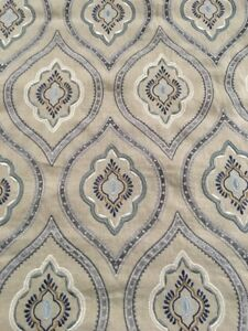 Colefax Fowler Embroidered Ogee Upholstery Fabric Fabian Blue 1 0