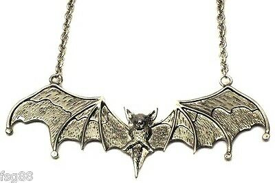 NEW Big Silver BAT Wing Metal Necklace Pendant Gothic Vampire Necklace Gothic