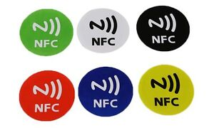 6pcs nfc tags stickers adhesive label for all smartphones with nfc galaxy s7 s8 ebay. Black Bedroom Furniture Sets. Home Design Ideas