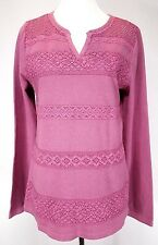 NWT Lucky Brand Size XL Rose Tunic Long Sleeve Crochet & Lace Top Retail $49.50