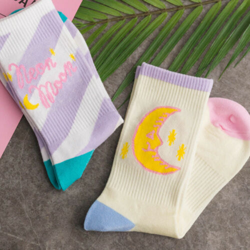 1 Pair Cute Candy Color Moon Pattern Soft Socks Autumn Winter Cotton Warm Sock