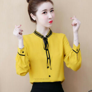 New-Spring-Women-Long-Sleeve-Chiffon-Bows-Casual-Loose-Career-T-Shirt-Blouse-Top