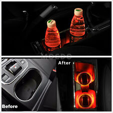 2X Red Solar Cup Holder Bottom Pad LED Light Cover Trim Atmosphere Lamp For Cars