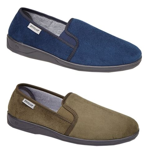 Mens Dunlop twin Gusset Indoor Home Slippers Full UK Sizes Textile Navy Green