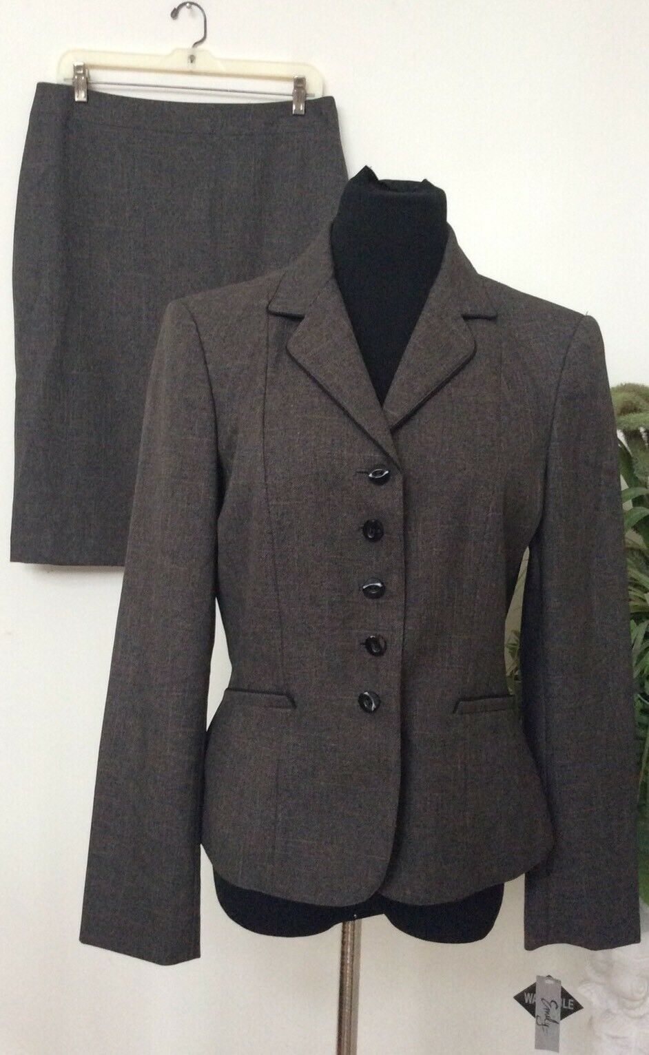 NWT Emily Women's Career Brown Brown Brown 100% Polyester 2 Piece Skirt Suit Size 10. 8618dc