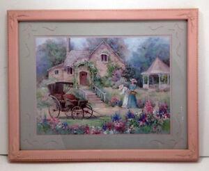 vtg homco barbara mock ladies carriage cottage garden print 16x20 pink frame ebay. Black Bedroom Furniture Sets. Home Design Ideas
