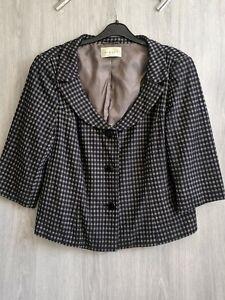Ladies-Shrug-Size-18-Minuet-Black-Check-Grey-Blazer-Bolero-Cover-Up-Jacket