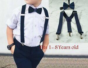 010627c9ef18 Boy Baby Kids Navy Blue Velvet Bow Tie Suspenders Braces Sets 1-8 ...