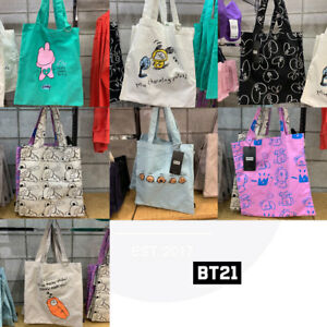 BTS-BT21-Official-Authentic-Goods-Drawing-Tote-Bag-7Characters-Tracking-code