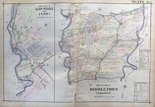SOUTH MIDDLETOWN DELAWARE COUNTY PENNSYLVANIA ATLAS MAP 1913 GLEN RIDDLE LENNI