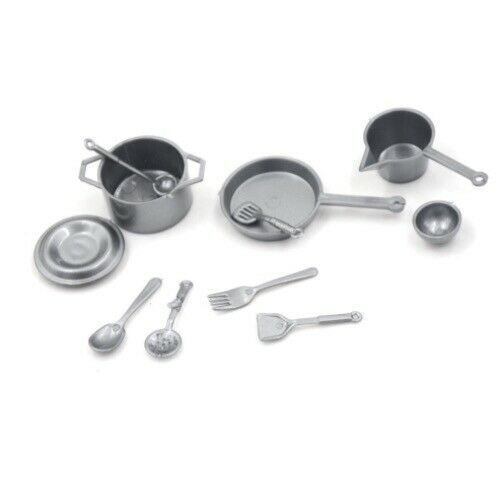 NEW UK 1//12 SCALE DOLLS HOUSE MINIATURE KITCHENWARE COOKING /& UTENSILS SET