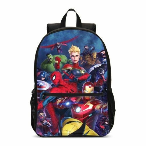 Super Hero Backpack Insulated Lunch Bags Pencil Case Lot Kids Boys Schoolbag Set