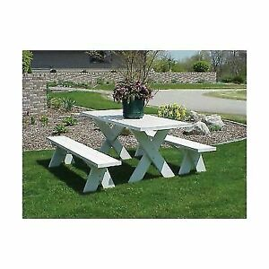 Excellent Dura Trel 6 Ft White Vinyl Table Unattached Plastic Outdoor Patio Bench Pdpeps Interior Chair Design Pdpepsorg