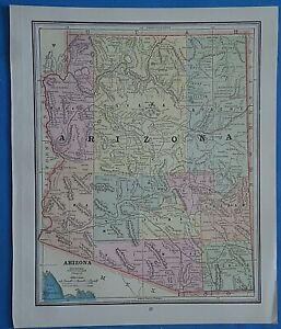 Map Of Old Arizona.Details About Vintage 1899 Arizona Territory Map Old Antique Original Atlas Map 20819