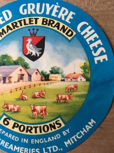 Antique Packaging Label Martlet Gruyere Cheese Spread Paper Graphics Vintage