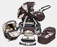 Baby Pram Pushchair Stroller Travel System 3in1 + Free Accessories