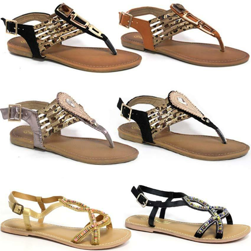 f8b2d4275096 Men Women Ladies Gladiator Sandals New Womens Flat Strappy Fancy Summer  craft Beach Shoes Size Excellent craft Summer The highest quality material  fine ...