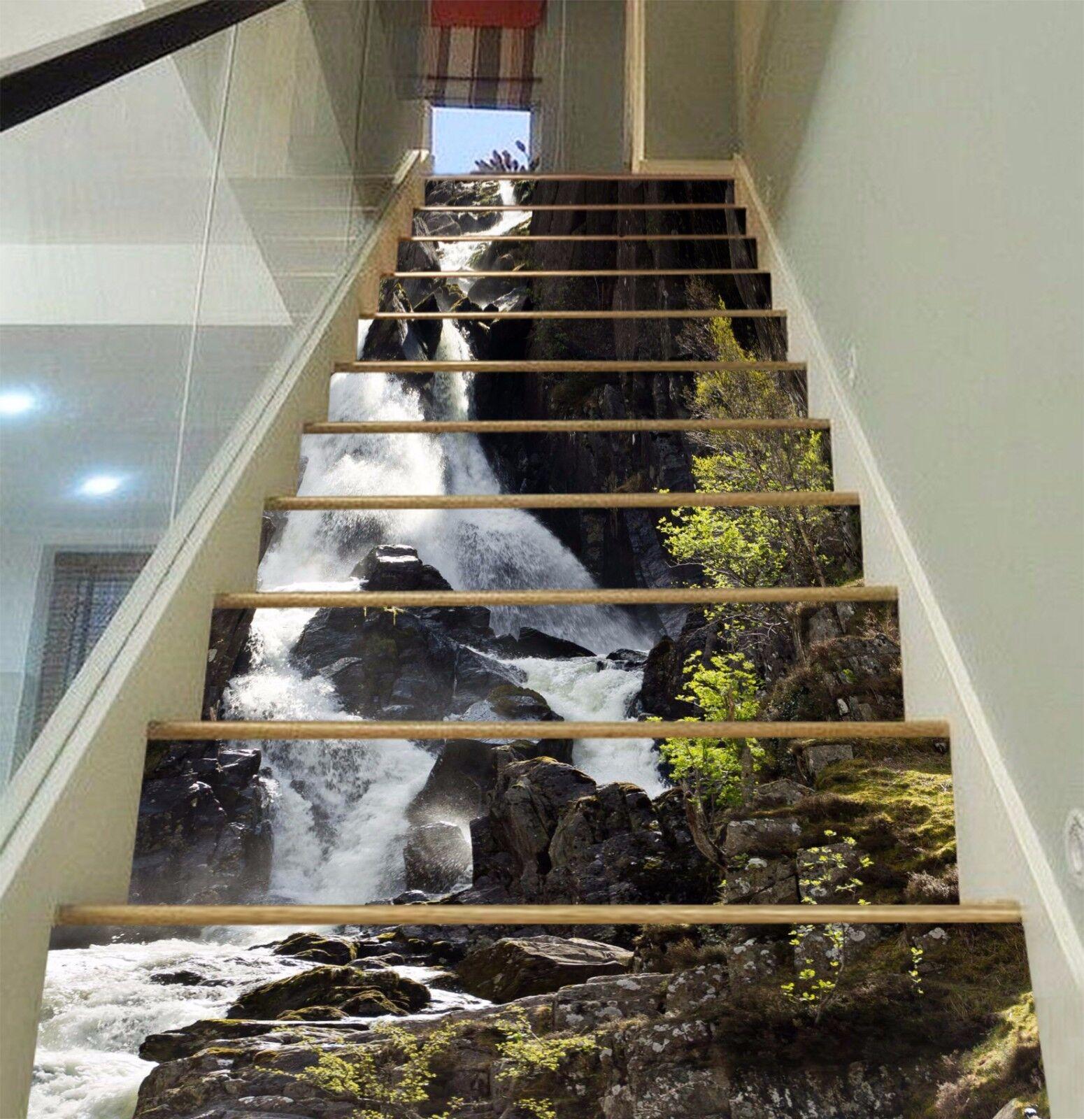 3D vert eau Stair Risers Decoration Photo Mural Vinyl Decal Wallpaper AU