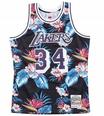 Mitchell & Ness Floral Swingman Jersey Los Angeles Lakers O'neal #34 Dauerhafte Modellierung