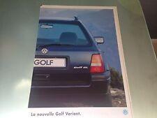 Catalogue brochure Katalog Prospekt VOLKSWAGEN GOLF VARIANT Année 1994 38 pages