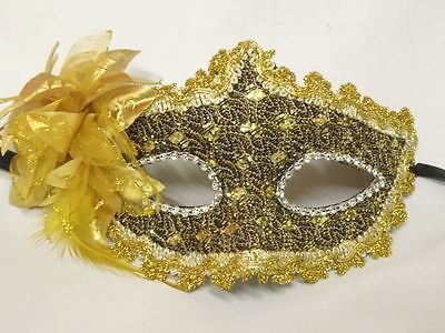 Gold and Brown with Gold Flower Masquerade Face Mask NEW Express Post Opt