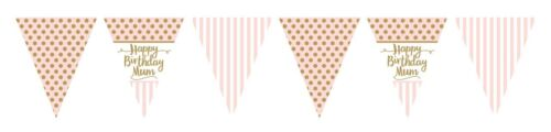 12ft Gold /& Pink Chic Happy Birthday Mum Flag Bunting Adults Party Decoration
