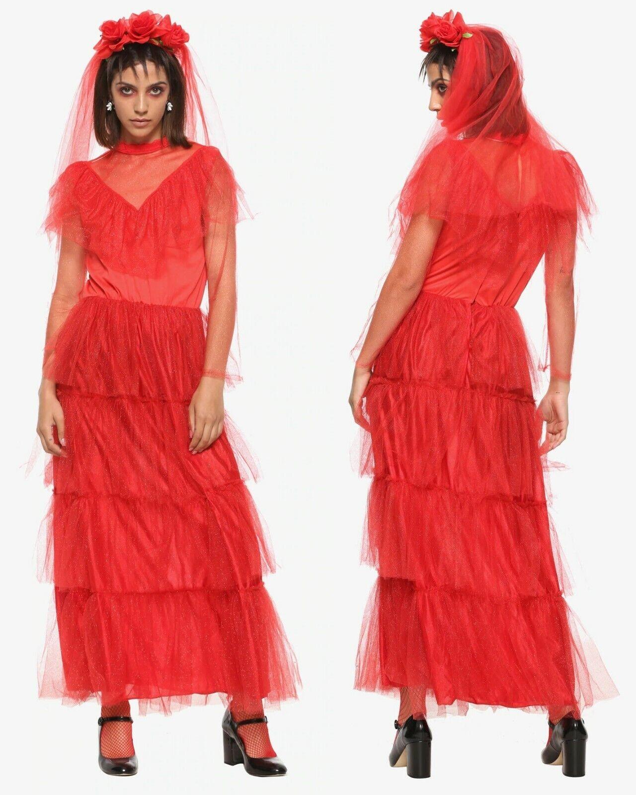 Beetle Bride Adult Womens Costume Beetlejuice Lydia Red Wedding Dress For Sale Online Ebay