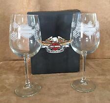 Harley Davidson Wine glasses pair etchable snow flake pattern wedding toasting