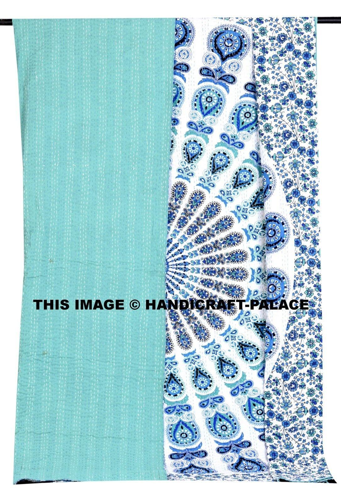 Mandala Indian Kantha Bedspread Handmade Quilt Throw 100% Cotton Blanket Queen