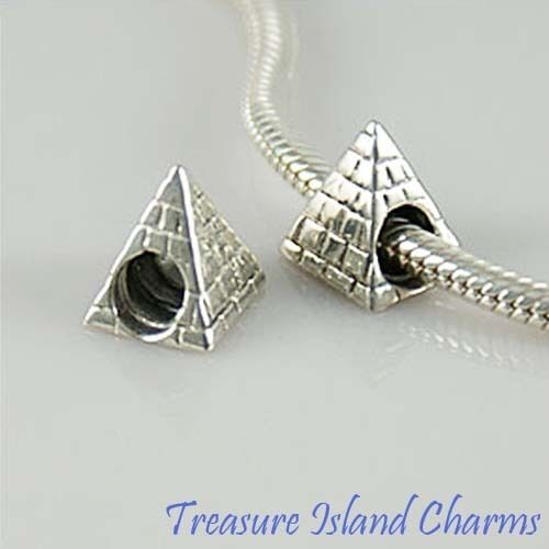 Pyramide Egypte Egyptien .925 Solid Sterling Silver European Spacer Bead Charm