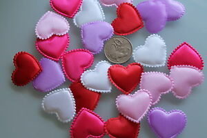 50-X-MIXED-COLOURS-PUFFY-PADDED-HEART