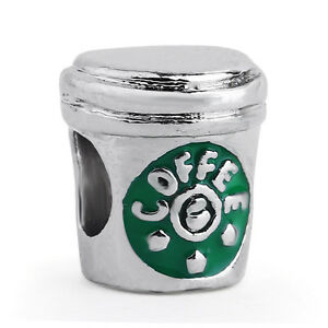 1PCS-Green-Coffee-Cup-Silver-Charm-Bead-fit-European-Charm-Bracelet
