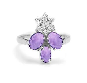 925-Sterling-Silver-Ring-Natural-Purple-Amethyst-Three-Gemstones-Size-4-11