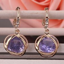 14K Gold Plated Crystal Amethyst Zircon Dangle Drop Womens Hoop Earrings Jewelry