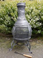 Cast Iron Chiminea Pot Belly Wood Heater Fire Garden Patio 05b