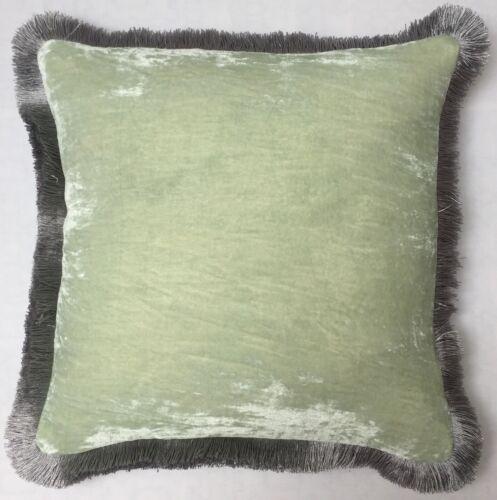 Anke Drechsel Pillow PLAIN Silver FRINGE Sky Light Silk Velvet Cushion Kissen