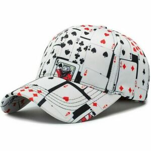 Details about Mens Baseball Cap Cotton Poker Print Ball Dad Trucker Caps For Adult Women Men