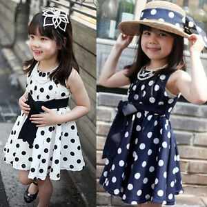 Robe-Fille-Ete-Vetements-A-Pois-Enfant-Mousseline-De-Soie-Cute